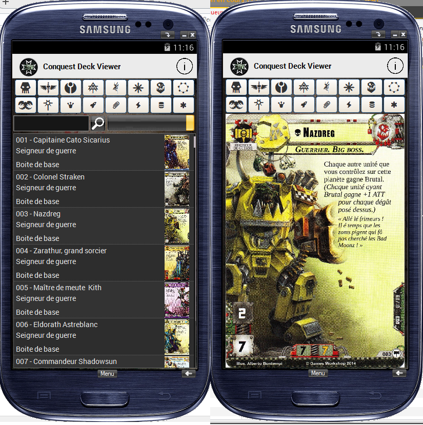 [Conquest Deck Viewer] Appli Android CDV